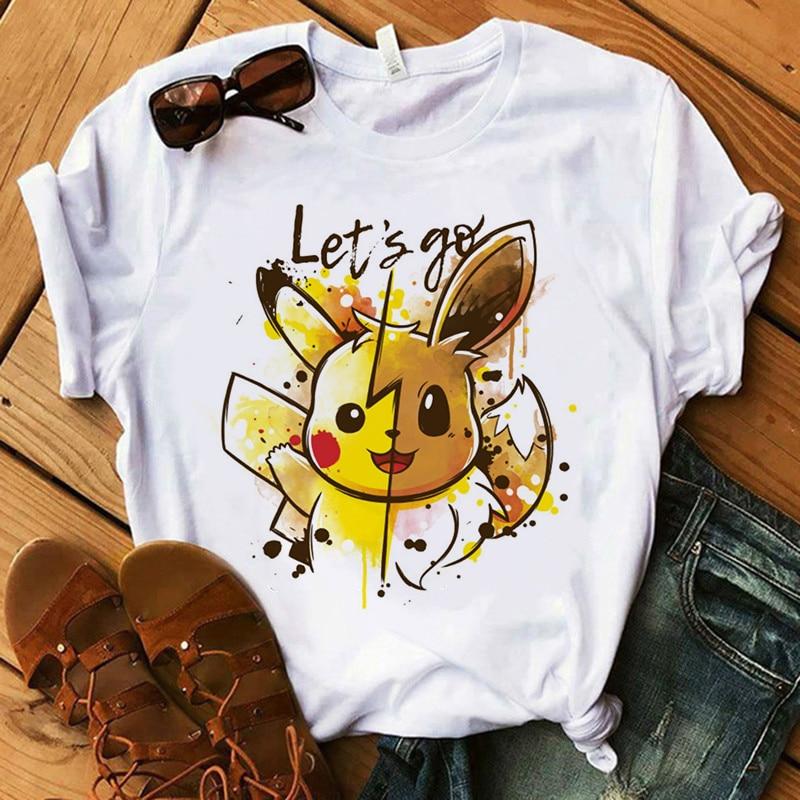 Fashion Streetwear Top T-Shirts Pokemon Go Harajuku T-shirts Women Kawaii Pikachu Funny Cartoon T-shirt 90s Cute Printed Tshirt