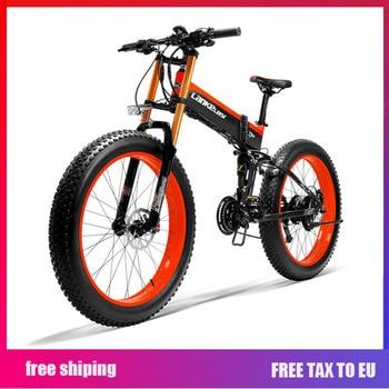 LANKELEISI Ebike con bicicleta eléctrica plegable de gran potencia de 26 '48 V 1000w Bike14.5A batería de Li-Ion neumático