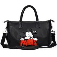 Fashion Paris Mickey Waterproof Travel Sport Gym Bag Women Fitness Training Yoga Zipper Handbag Outdoor Training High Capacity