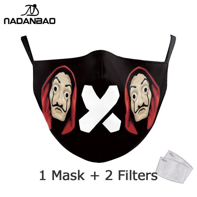 NADANBAO La Casa De Papel Mouth Mask Kid Cosplay Costume Adult Black Face Reusable Mask Print Washable Fabric Masks Cosplay Face 3