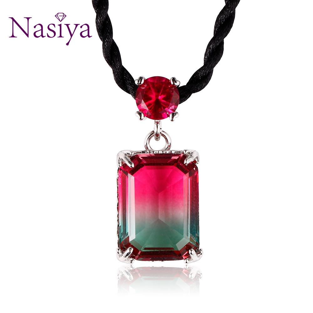 Nasiya New Design Choker Rope Necklace With Tourmaline Pendant Short Collar Necklace For Women Party Birthday Wholesale Gift