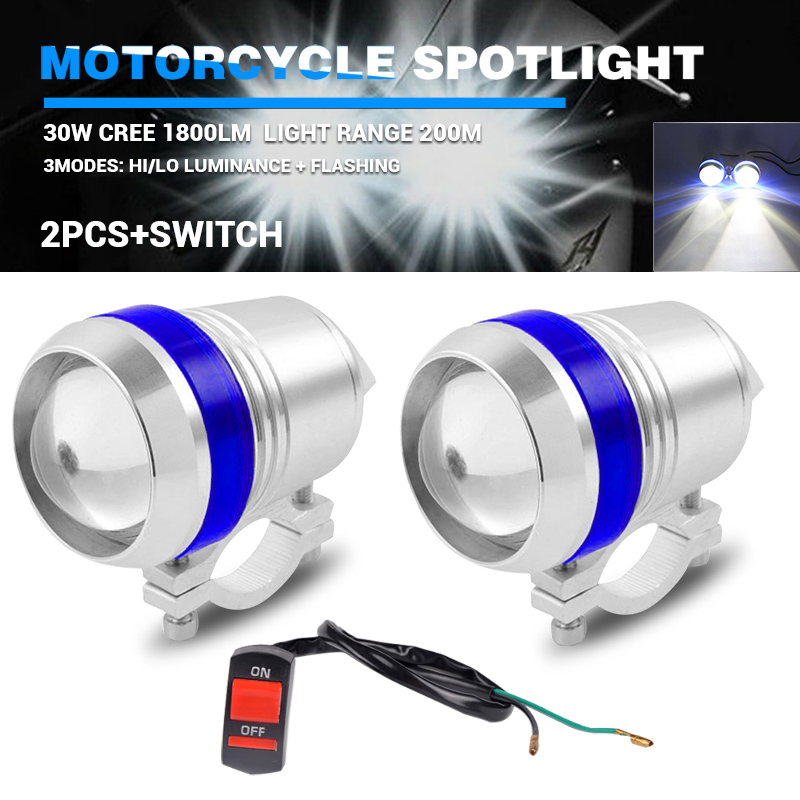 2pcs U3 Motorcycle LED Headlamp U2 Blue Angel Eyes Halo Silver Shell Hi/lo Beam Spot Light For Universal Bicycles Motorcycles