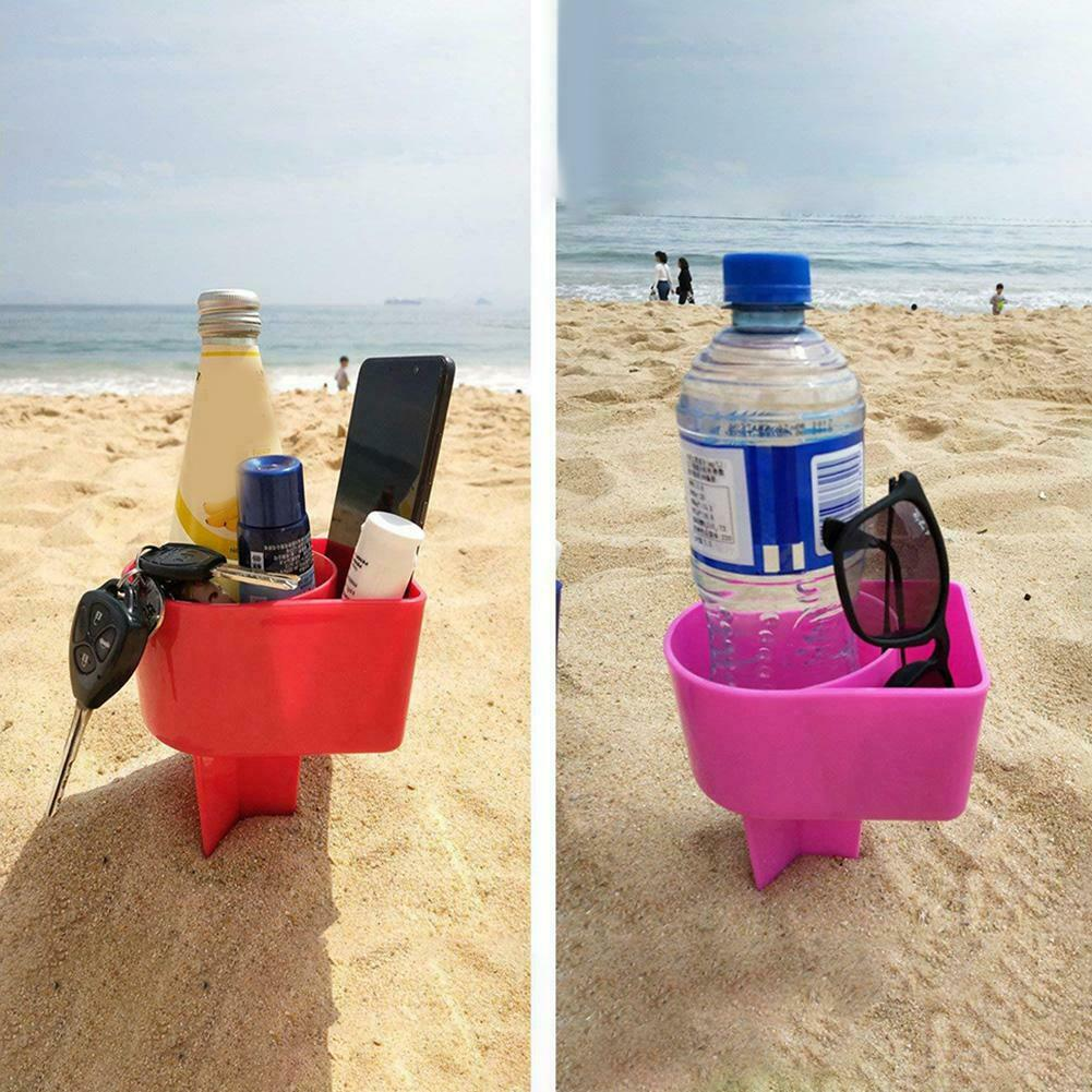 2 Pcs Beach Cup Holder Plastic Drink Stand Durable Sand Spike Portable For Outdoor Portabicchieri Da Spiaggia BDF99