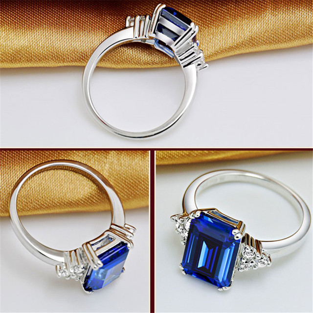 2019 New Fine Engagement Ruby Ring 925 Sterling Silver Rings Amethyst Gemstone Ring Silver Emerald Blue Sapphire Ring For Women 6