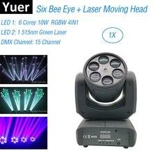 Seis abelha olho laser mostrar luz 6x10 w rgbw 4in1 feixe movendo a cabeça luzes dj laser dança projetor para discoteca luz luzes de festa música