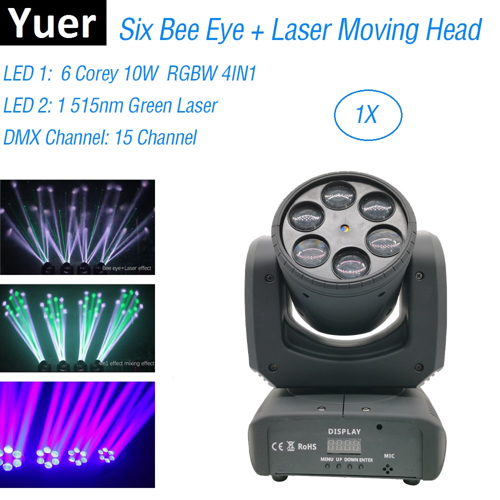 Six Bee Eye Laser Show Light 6X10W RGBW 4IN1 Beam Moving Head Lights Dj Laser Dance Projector For Disco Light Music Party Lights
