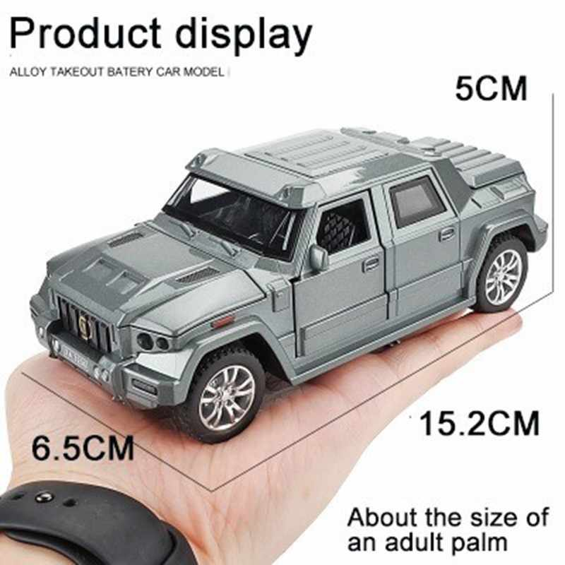 1:32 Logam Lapis Baja Berat SUV Model Mobil Mainan Anak Anak Paduan Simulasi Off-Road Anti Peluru Kendaraan 4 Pintu Dibuka Menarik kembali