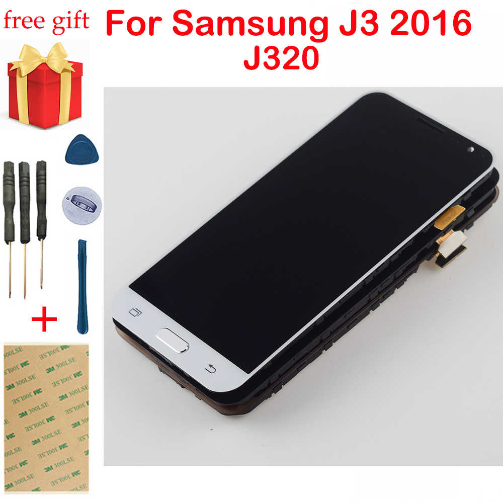 J320F LCD Display J320 Display Touch Screen Digitizer Frame untuk Samsung Galaxy J3 2016 LCD J320M J320H J320FN LCD Display