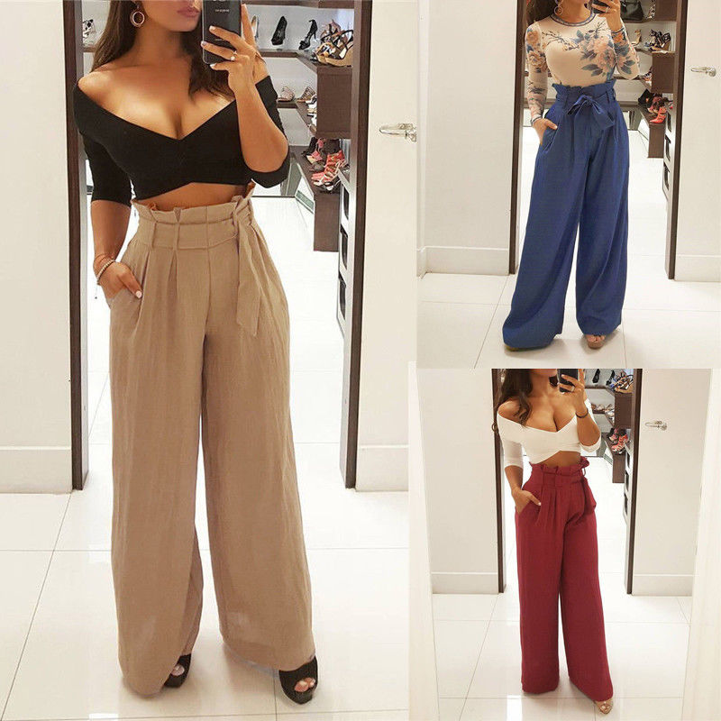 2019 Fashion Womens Palazzo Pants Culottes Ladies OL Office Loose Stretch High Waist Wide Leg Solid Long Pants Palazzo Trousers