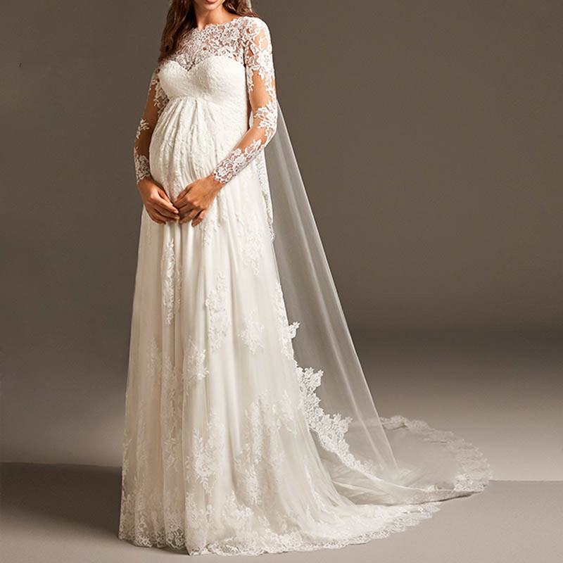 Vestido De Noiva Elegant Empire Pregnant Wedding Dress With Long Sleeve Maternity Lace Bridal Gowns For Women Mariage