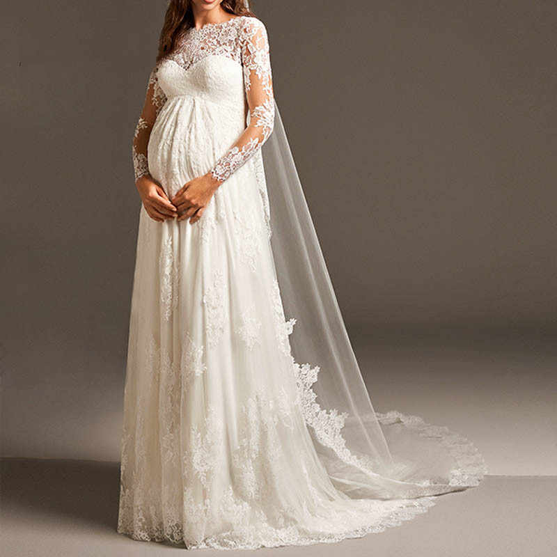 Vestido デ Noiva エレガントな帝国妊婦のウェディングドレスと長袖マタニティレース女性のためのブライダルマリアージュ