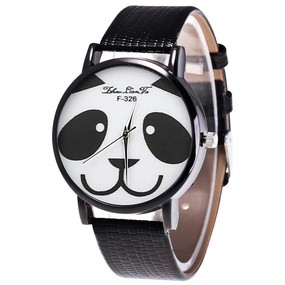 Fashion Quartz Watch Men Women Couple Electronic Watch Panda With PU Wrist Strap LXH