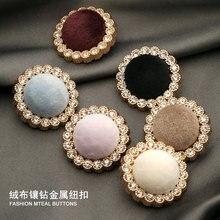 Gold Metal Rhinestone Diamant Stof Decoratieve Knopen Voor Kleding Craft Handwerken Botones Naaien Diy Vrouwen Jas Jurk 6 Stuks