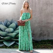 WildPinky-Vestido largo de Estilo de vacaciones con estampado de hojas para mujer, vestido playero con volantes y espalda descubierta