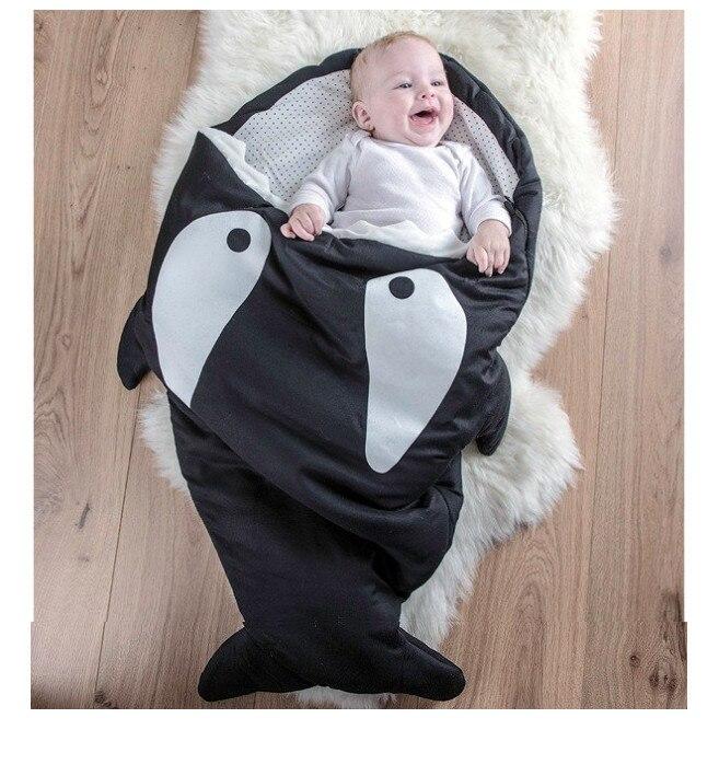 CYSINCOS Infant Sleeping Bag Shark Pattern Blanket Baby Swaddle Stroller Blanket Baby Bedding Wrap Winter Newborn Sleeping Wrap