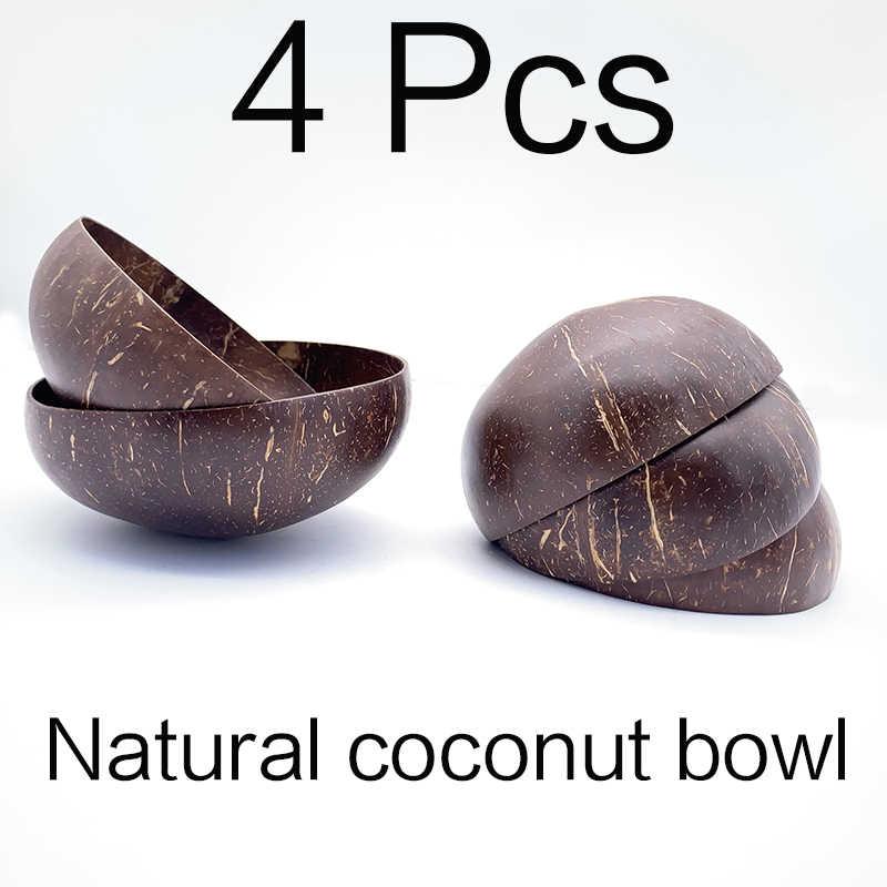 Natural Coconut Bowl set Spoon Fruit Salad Noodle Rice Bowl Wooden Creative Coco