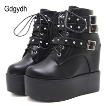 Gdgydh 2019 New Women Rivests Boots Thick Platform Wesges Lace-up Female Short Metal Buckle Laides Shoes Autumn Hot Sales