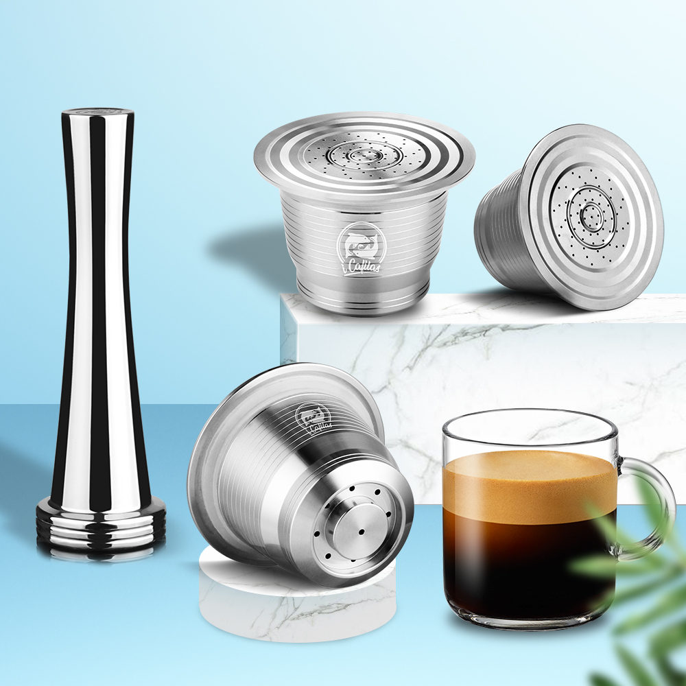 капсулы nespresso ICafilas Nespresso многоразового капсула круглое отверстие Capsula Nespresso Нержавеющаясталь Capsulas Nespresso Reutilizables