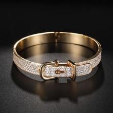 Dazz Gold Color Luxury Shiny AAA Cubic Zirconia Women Bracelet Bangle Ring Set Dress Party Lady Fashion Jewelry Sets Gifts 2019 hibride luxury white gold color dark blue aaa cubic zirconia fashion women jewelry sets n 58