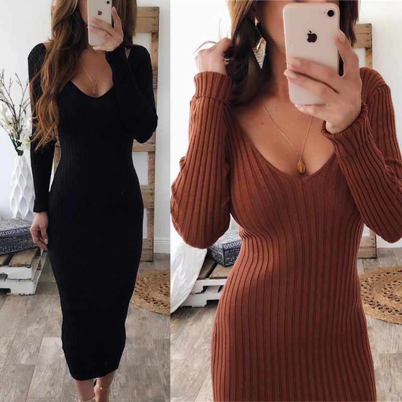 Сексуальное трикотажное платье-свитер с v-образным вырезом, женское облегающее платье миди с длинным рукавом, черное, белое, красное эластичное трикотажное зимнее платье vestidos