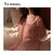 Сказать утро Для женщин одежда для сна кружевное тонкий без