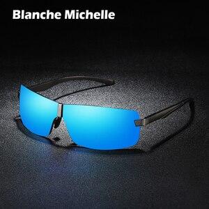 Image 1 - Bm Aluminium Frame Gepolariseerde Zonnebril Mannen UV400 Merk Designer Rijden Zonnebril Mannelijke Goggle Spiegel Vintage Oculos Masculino