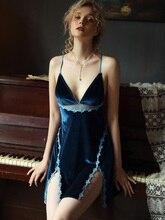 Winter Gold Velvet Nightdress Open Back Cross Strap Lingerie Lace Temptation Womens Nightgown Sleepwear Sexy Nightdress Female