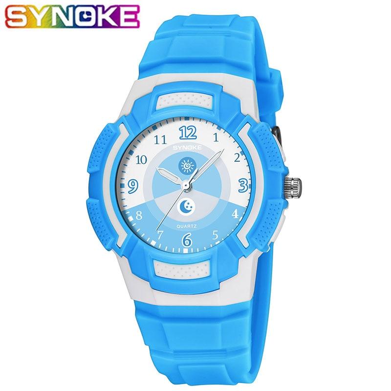 SYNOKE Kids Watches Boys 50M Waterproof Quartz Wristwatches Kids Boys Hours Girls Watches Clock Student Children Sport Watch