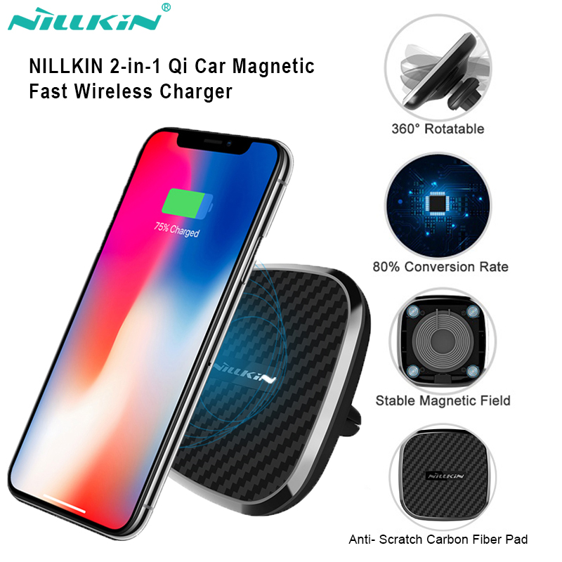 Wireless Car Charger Mount Nillkin Dashboard Magnetic Phone Holder 10W Fast Qi Charging for Samsung Galaxy S10//S10+//S9//S9 Plus//S8//Note 8//S7//S7 Edge Model C iPhone X//XS//XS Max//XR//8//8 Plus and More