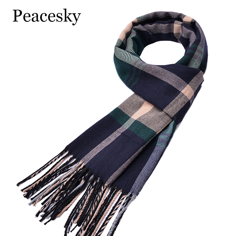Size 180*30cm Winter Scarf New Soft Cashmere Scarves Plaid Check Warm Oblong Fringe Unisex Man Woman's Scarf Pashimina