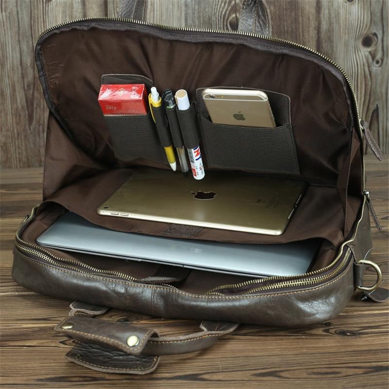 Nesitu New A4 Vintage Genuine Leather  14'' Laptop Office Men's Briefcase Handbag Business Shoulder Messenger Bag Portfolio M7