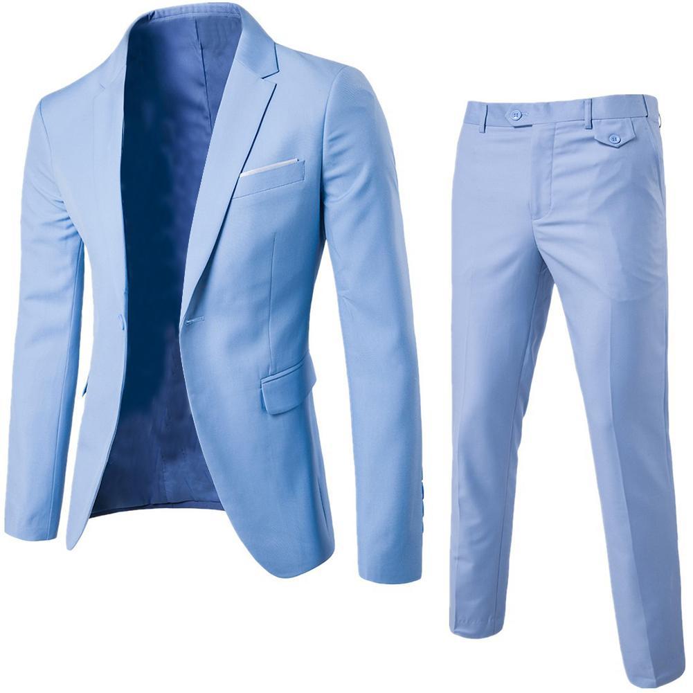 2 יח'\סט בתוספת גודל גברים מוצק צבע ארוך שרוול דש Slim כפתור חליפת עסקי גברים תלבושות Homme מתנות מושלמים עבור גברים