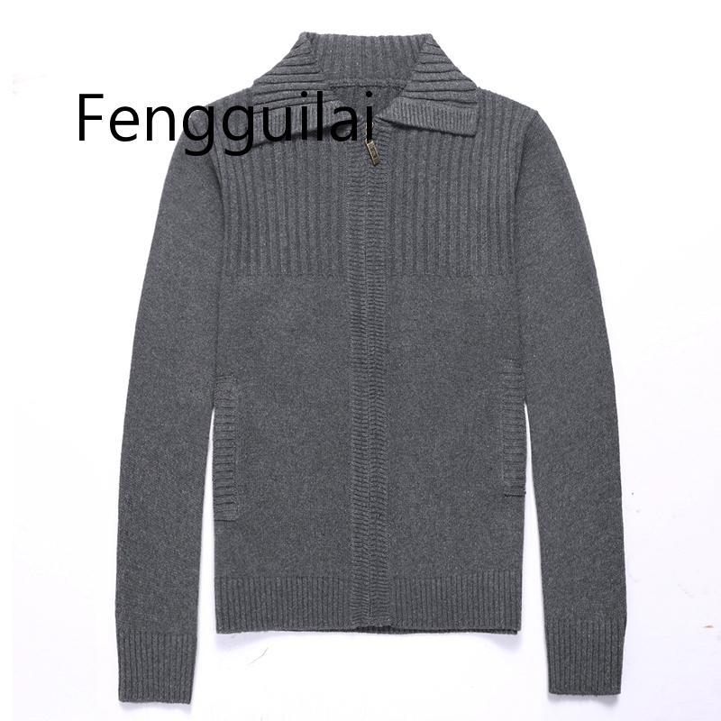 2020 New Fashion Men's Sweaters Autumn Winter Warm Zipper Pullover Sweaters Man Casual Knitwear Plus Size M-3XL Red Gray