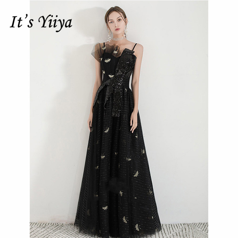 It's Yiiya Evening Dress 2019 Black Vintage Boat Neck Sequins Formal Gowns Elegant Embroidery Spaghetti Strap A-Line Dress E1083