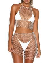 X 2019 Hot Sexy Diamonds Mesh Grid Top Vrouwen Korte Mouw Mesh Hemdje Bikini See Through Rhinestone Net Party Club vest(China)