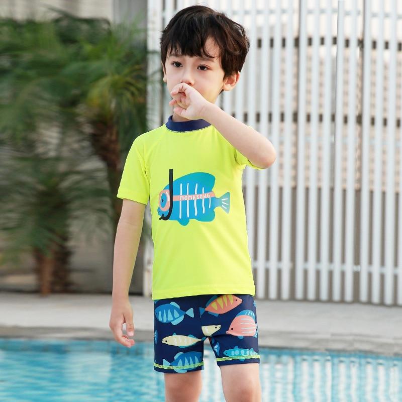 2019 KID'S Swimwear BOY'S Children Cute Split Type Sun-resistant Quick-Dry Boy Tour Bathing Suit Swimming Trunks Spa Resort