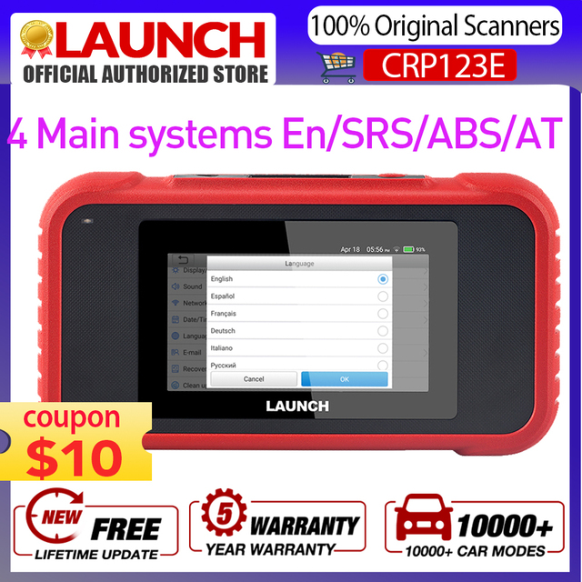 LAUNCH X431 CRP123E OBD2 Code Reader For Engine Airbag SRS Transmission OBDII diagnostic tool x431 CRP123 E Free Update lifetime