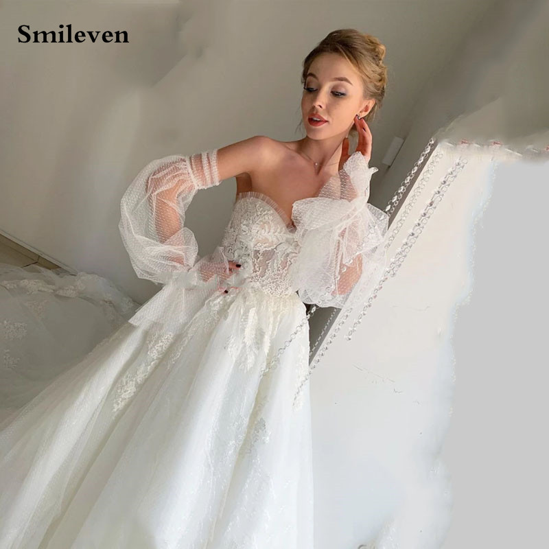 Smileven Puff Sleeve Wedding Dresses Appliqued Lace Bridal Gowns 2020 Robe De Mariee Lace Up Back Wedding Gowns