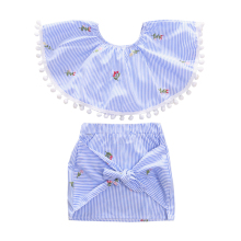 1-6Y girls 2 piece set little girl clothes blue stripes crop top with cotton dot tassels big bowknot skirt outfit