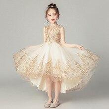 Детское свадебное платье для девочек торжественное платье принцессы на одно плечо с золотой шелковой вышивкой для первого причастия, вечерние платья для выпускного вечера для девочек возрастом от 3 до 12 лет