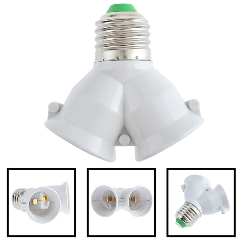 2 In 1 E27 Lamp Base Fireproof Material Holder Converter Socket 2E27 Y Shape Light Bulb Splitter Adapter Light Bulb Base Holder