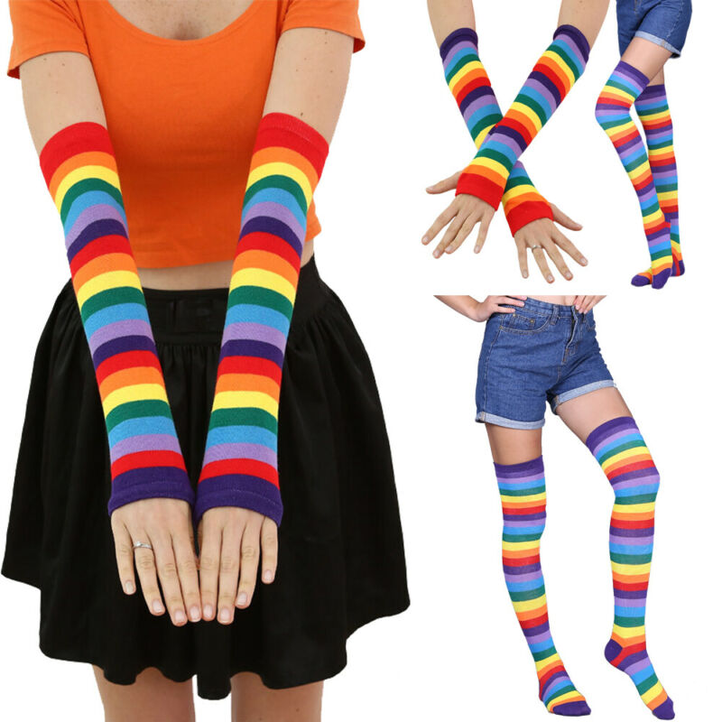 Autumn Winter Fashion Women Girl Rainbow Long Gloves Warm Striped Over The Knee Thigh High Mitten Gloves