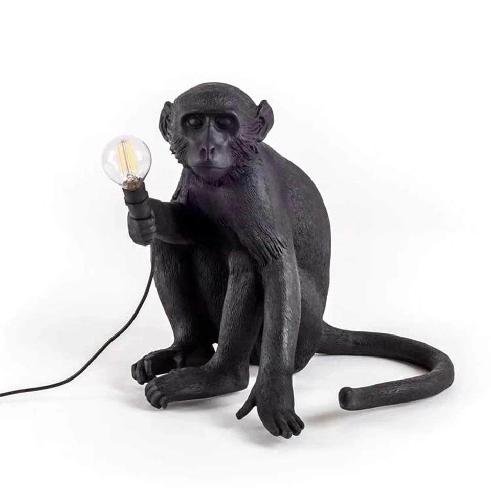 LED Resin Monkey Pendant Light Black White Gold Modern Hemp Rope Lamps For Living Room  Art Parlor Study Room Led Lights Lustre