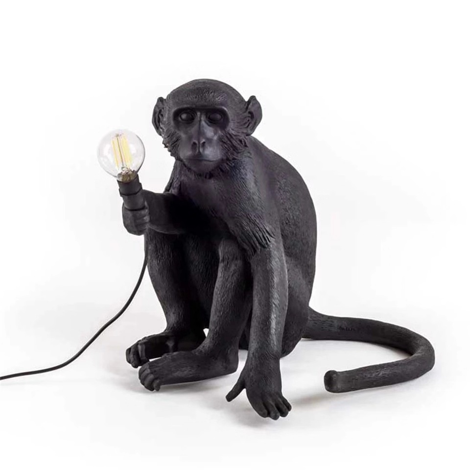LED Resin Monkey Pendant Light SELETTI Black White Gold Modern Hemp Rope Lamps For Living Room  Art Parlor Study Lights Lustre
