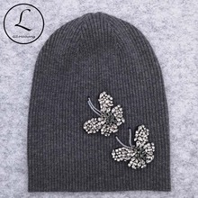 GZHilovingL Woman Butterfly Diamonds Beads Beanies Hats Soft Thin Wool Cotton Knitting Skullies Beanies Hats For Ladies Girls