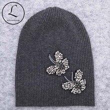 Gzhilovingl mulher borboleta diamantes contas beanies chapéus de lã fina macia algodão tricô skullies gorros chapéus para senhoras meninas