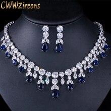 CWWZircons 럭셔리 진한 파란색 여성 웨딩 파티 드레스 보석 큰 매달려 드롭 신부 CZ 목걸이 귀걸이 쥬얼리 세트 T341