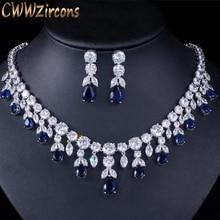 CWWZircons Luxus Dark Blue Frauen Hochzeit Party Kleid Schmuck Big Baumeln Braut CZ Halskette Ohrringe Schmuck Sets T341