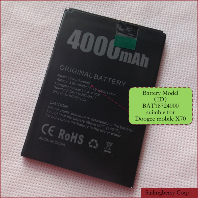Battery Suitable For DOOGEE Mobile X70 With Battery Model BAT18724000