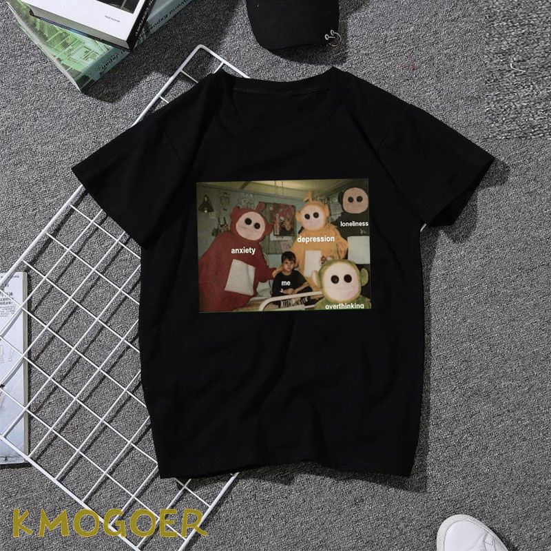 Anxiety Depression Overthinking T-shirt Men Meme Cotton Tees Tops Hip Hop Streetwear Male Tshirt Man Summer Casual Mens T Shirt